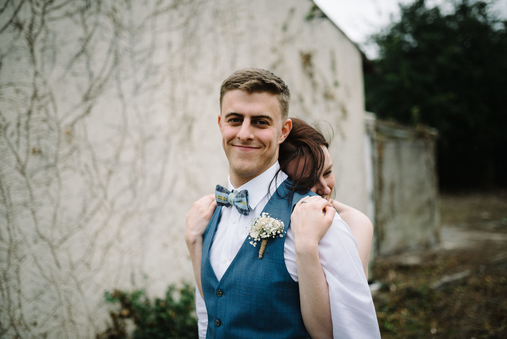 Jonny & Sarah, Dublin, Ireland - Jonny wears Daylight in Dublin sky blue bow tie from our permanent collection. Photo courtesy of Rob Dight, Epic Love Photography. Click here to view matching silk scarves.