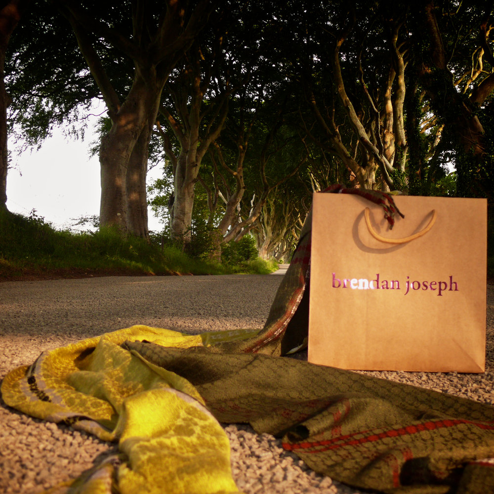 brendanjoseph_greensilkscarf_shoppingbag_darkhedges_coantrim