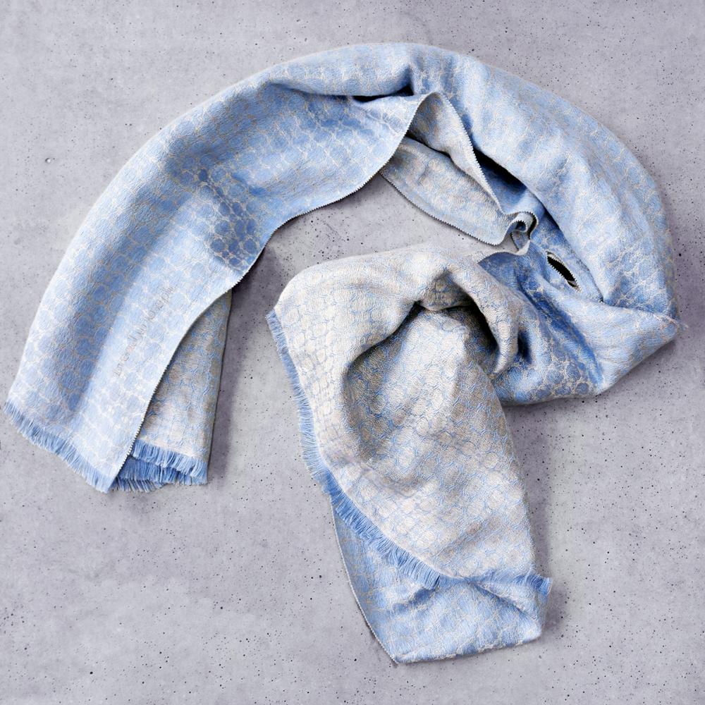 Horizonless - Killiney Bay sky blue silk and linen shawl, handmade in Ireland.
