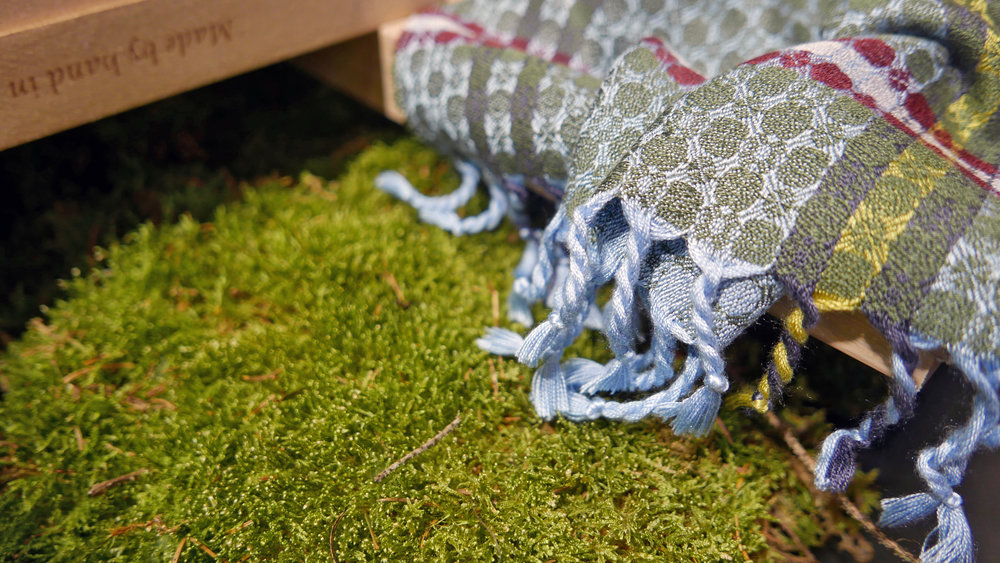 brendanjoseph-howth-head-luxury-blueandgreensilkscarf-closeup-handmadeindublinireland-gift-packaged