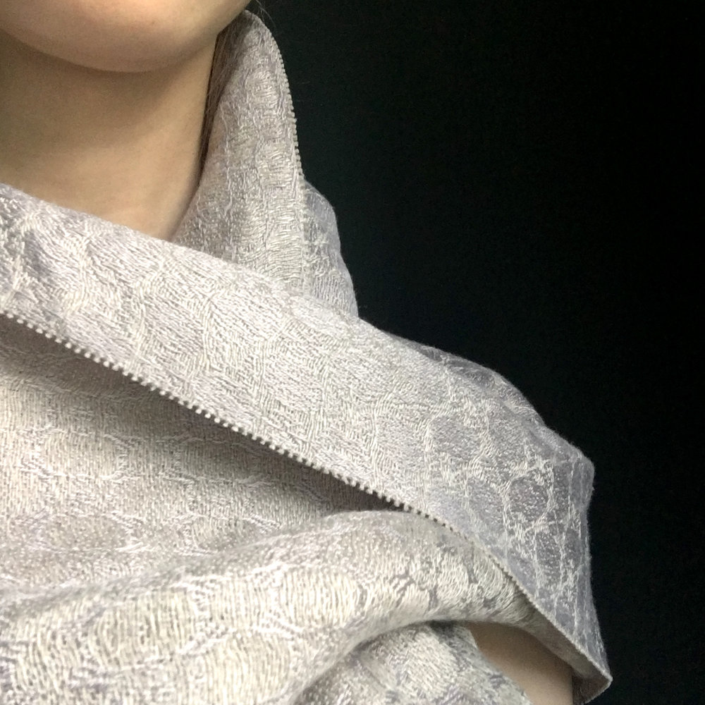 SilverShore-silver-grey-luxurysilkpashminashawl-brendanjoseph-handmadeinireland