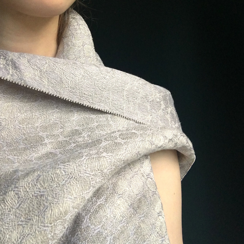 'Silver Shore' silver-grey silk and linen bridal wrap.