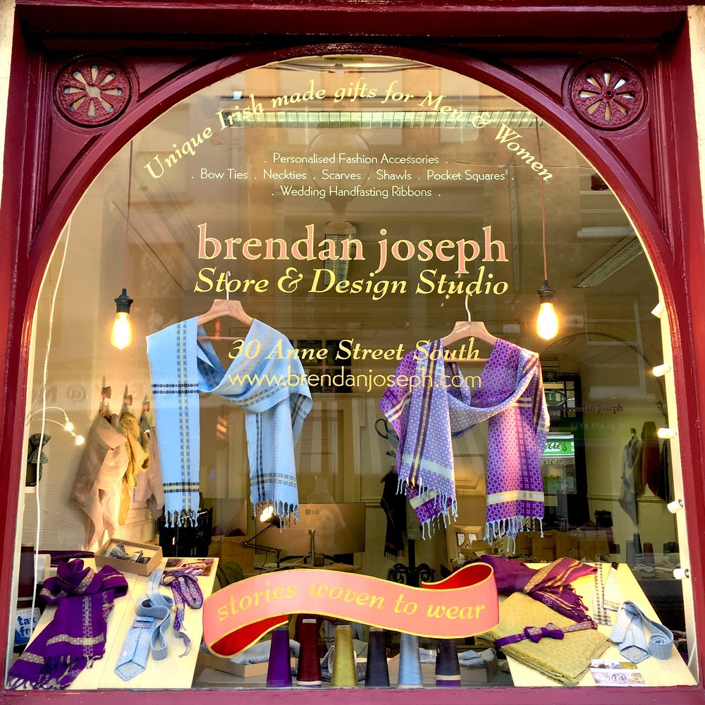 Brendan Joseph Store & Design Studio - 30 Anne Street South, Dublin 2(Grafton Street end)Discover Irish designer scarves and accessories, bespoke,personalised pieces for Weddings & Corporate Gifts.Monday - Wednesday 9.30am - 5.30pmThursday - Saturday 9.30am - 8.30pmSunday 10.00 am- 5.00pmCall (01) 491 4786 to arrange an out-of-hours private visit.