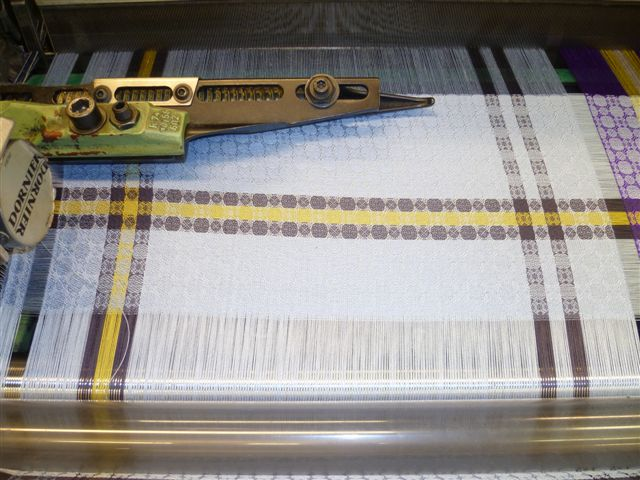On the loom: Blue silk woven scarf,  'Sandymount Strand' by Irish designer Brendan Joseph.