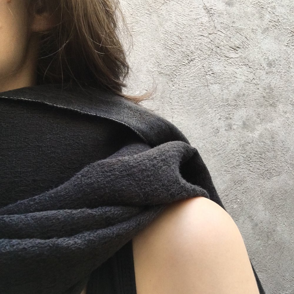 Blue black linen and silk shawl, hand-dyed by Irish designer Brendan Joseph