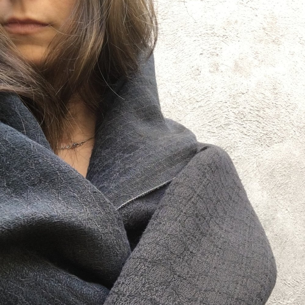 Brendan Joseph charcoal black hand-dyed silk and linen shawl