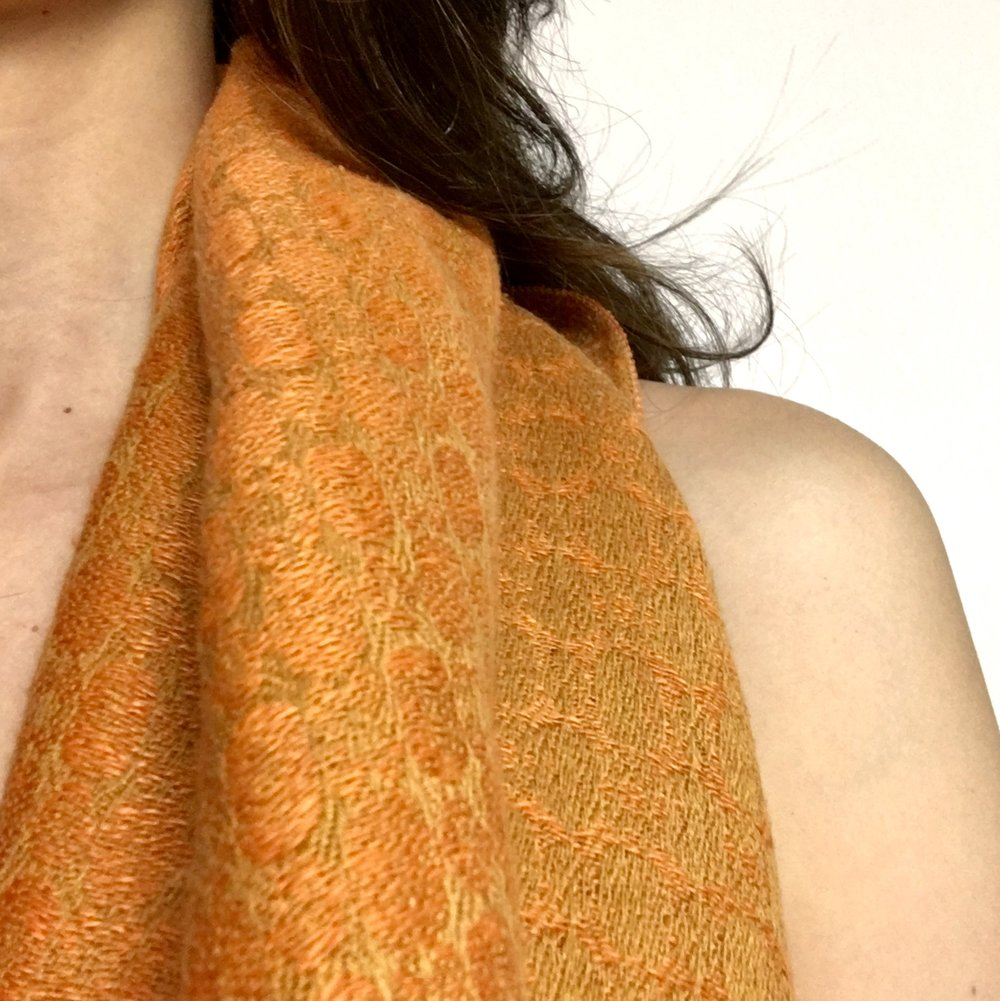 Orange silk and linen hand-dyed shawl by Irish designer Brendan Joseph