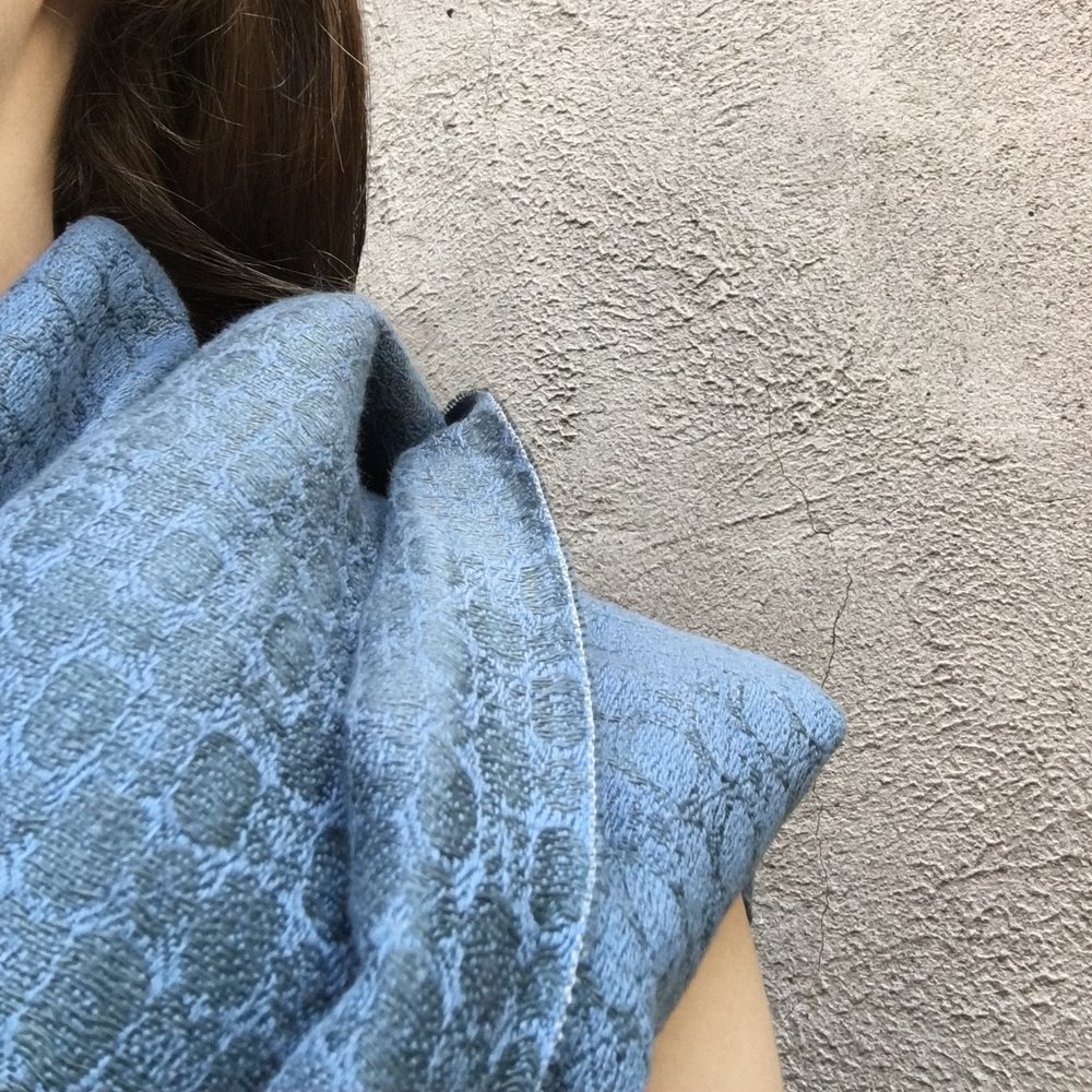 Brendan Joseph blue hand-dyed silk and linen shawls for women and men