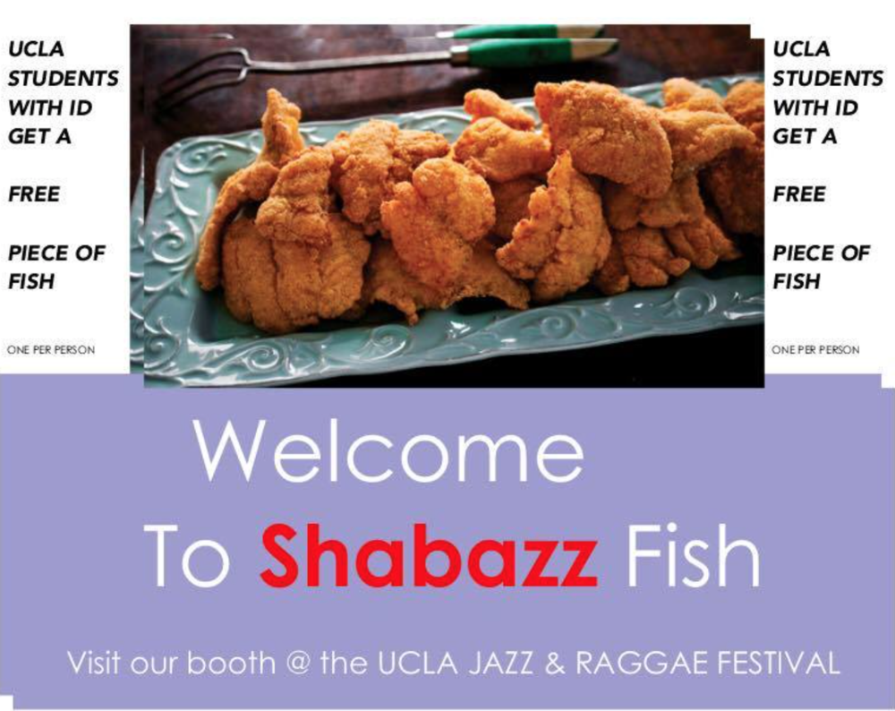 - Shabazz Good Foods served delicious platters that included fried fish, chicken, and shrimp with delicious sides that customers enjoyed! Additionally, Shabazz brought some delicious pie!