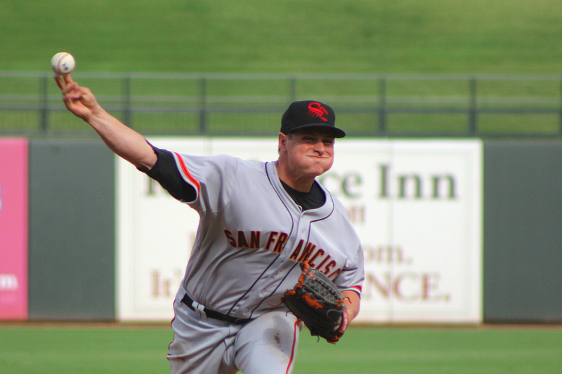 Kyle Crick threw two scoreless innings out of the Scorpions bullpen on Tuesday. (Conner Penfold / Giant Potential)