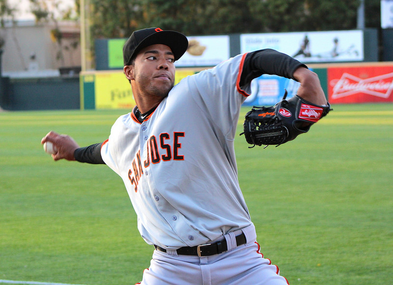 Kendry Flores before an April start against the Rancho Cucamonga Quakes. (Conner Penfold-Giant Potential)