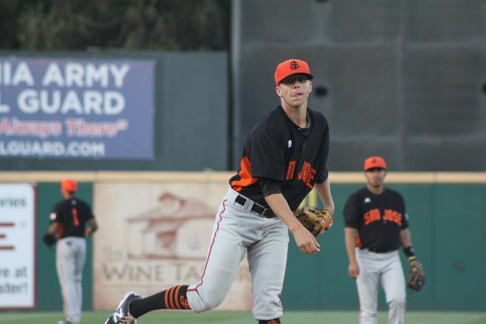 Vander Tuig with the San Jose Giants in 2014. (Conner Penfold/Giant Potential)