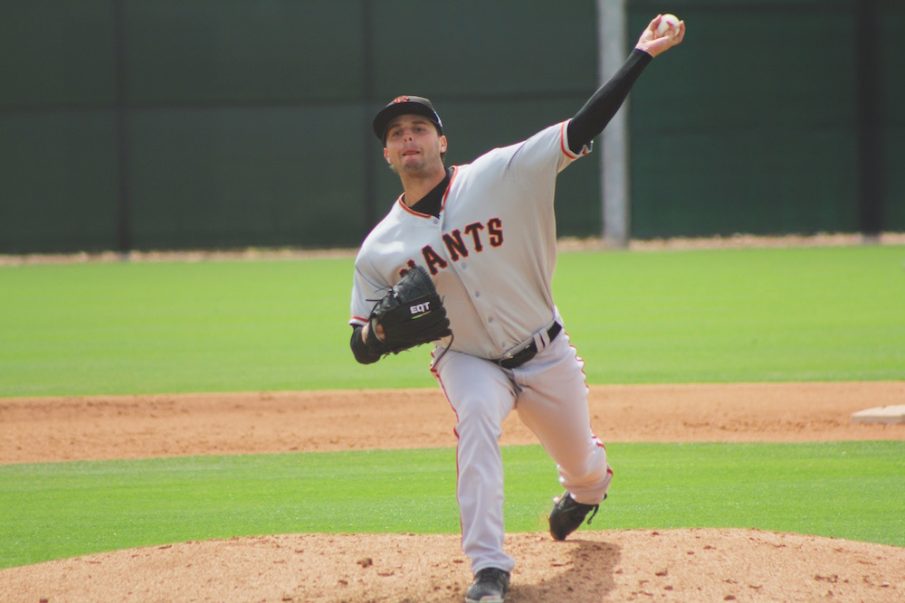 Andrew Suarez on March 29 at minor league spring training in Mesa, Ariz. (Conner Penfold/Giant Potential)