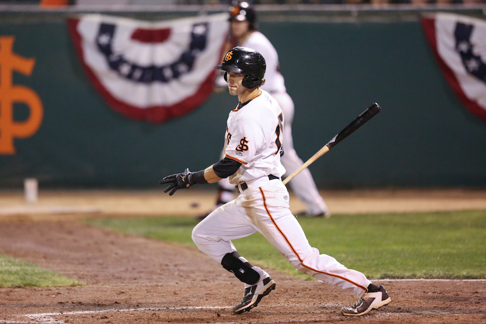 Steven Duggar with the San Jose Giants during the 2015 California League playoffs. (Tim Cattera/MiLB.com)