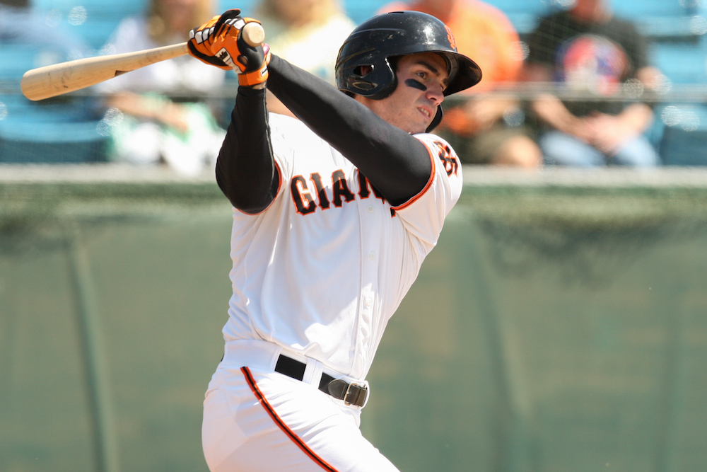 San Jose Giants first baseman Chris Shaw slugged .852 over the past week. (Tim Cattera/MiLB.com)