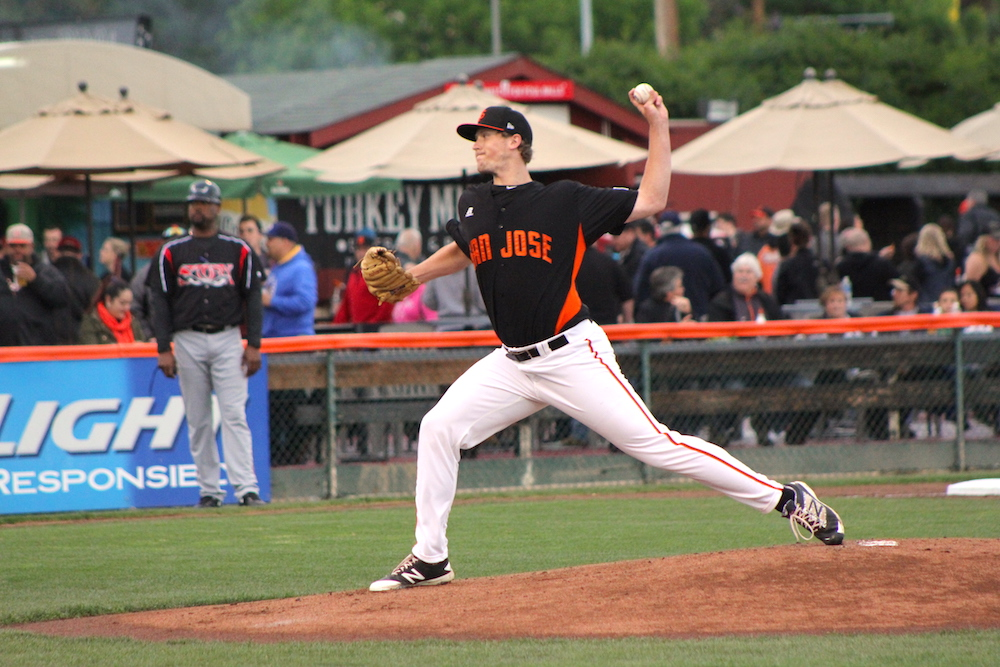 D.J. Snelten pitched 6.2 innings while striking out a season-high nine Friday night in San Jose. (Conner Penfold/Giant Potential)