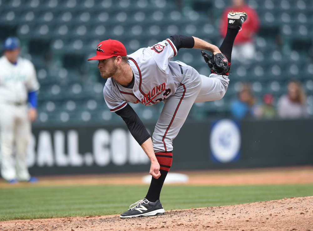 Chase Johnson making a start for the Richmond Flying Squirrels on April 9, 2016. (Kevin Pataky/MiLB.com)