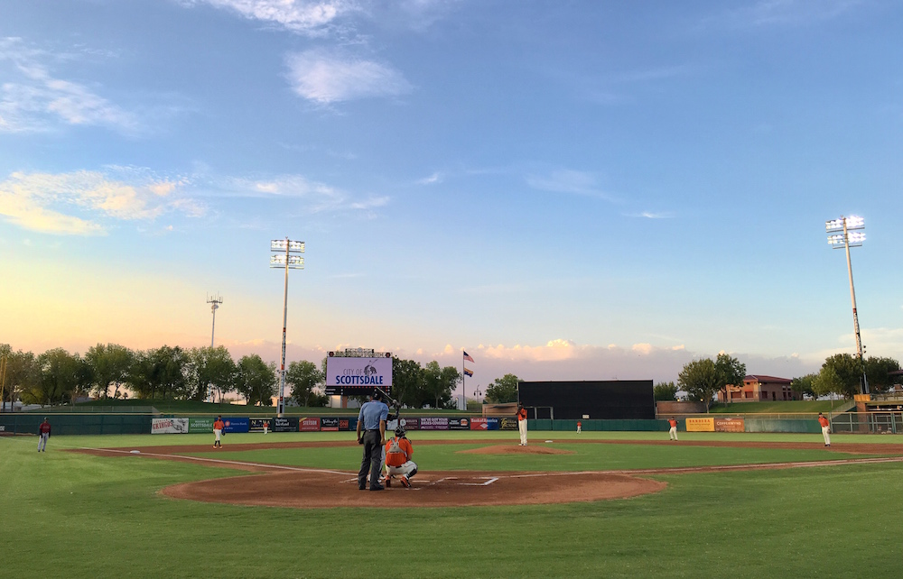 The AZL Giants squad playing their home opener at Scottsdale Stadium on June 21, 2016. (Conner Penfold/Giant Potential)