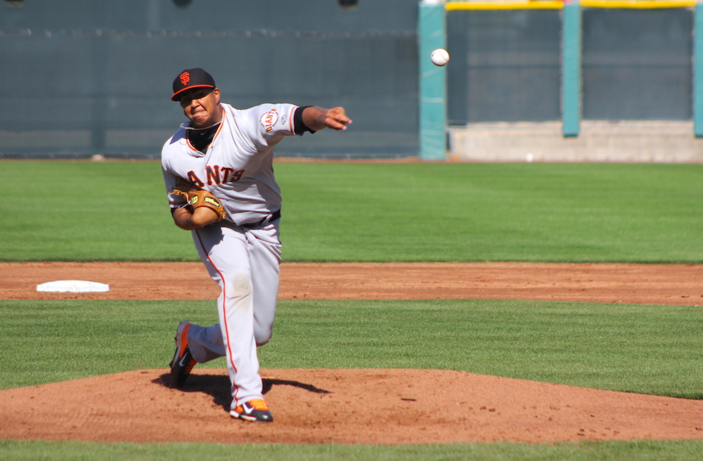 23-year-old Adalberto Mejia, a highly rated pitching prospect in the Giants system for years, pitching during spring training during the 2014 season. (Conner Penfold/Giant Potential)