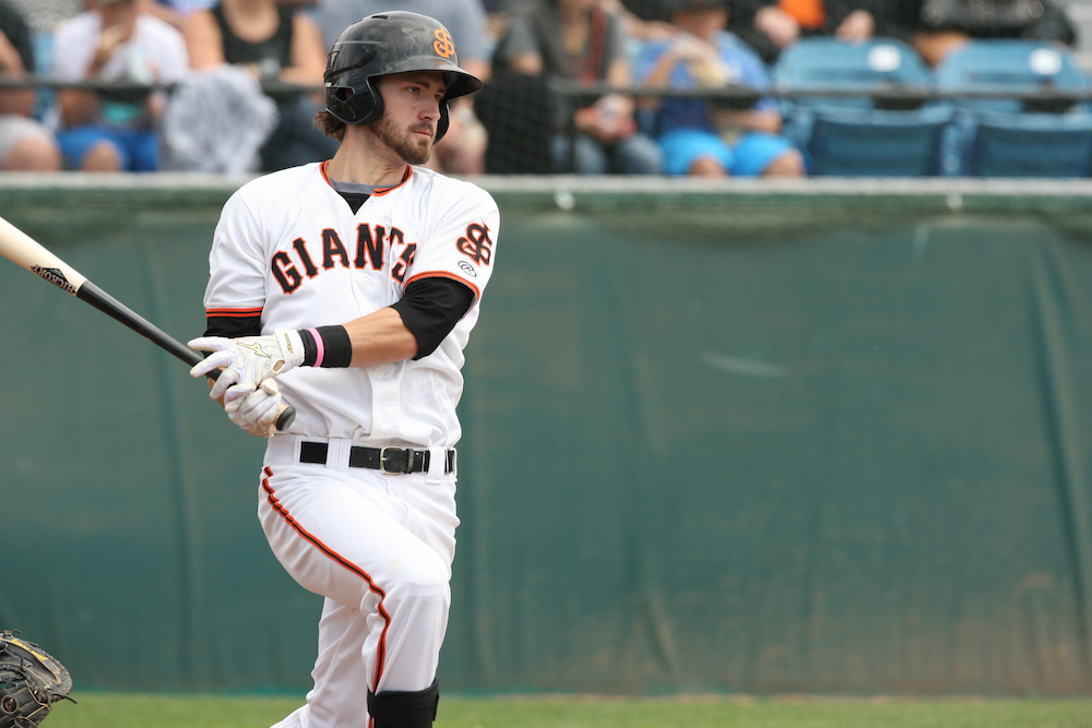 Steven Duggar went 2-for-4 on Wednesday to push his hitting streak to 15 games. (MiLB.com photo)