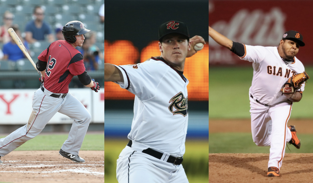 Giant Potential's selections for San Francisco Giants' Minor League Players-of-the-Year, Austin Slater, Ty Blach, and Reyes Moronta. (Images by Jamie Harms, Ralph Thompson, Tim Cattera/MiLB.com)