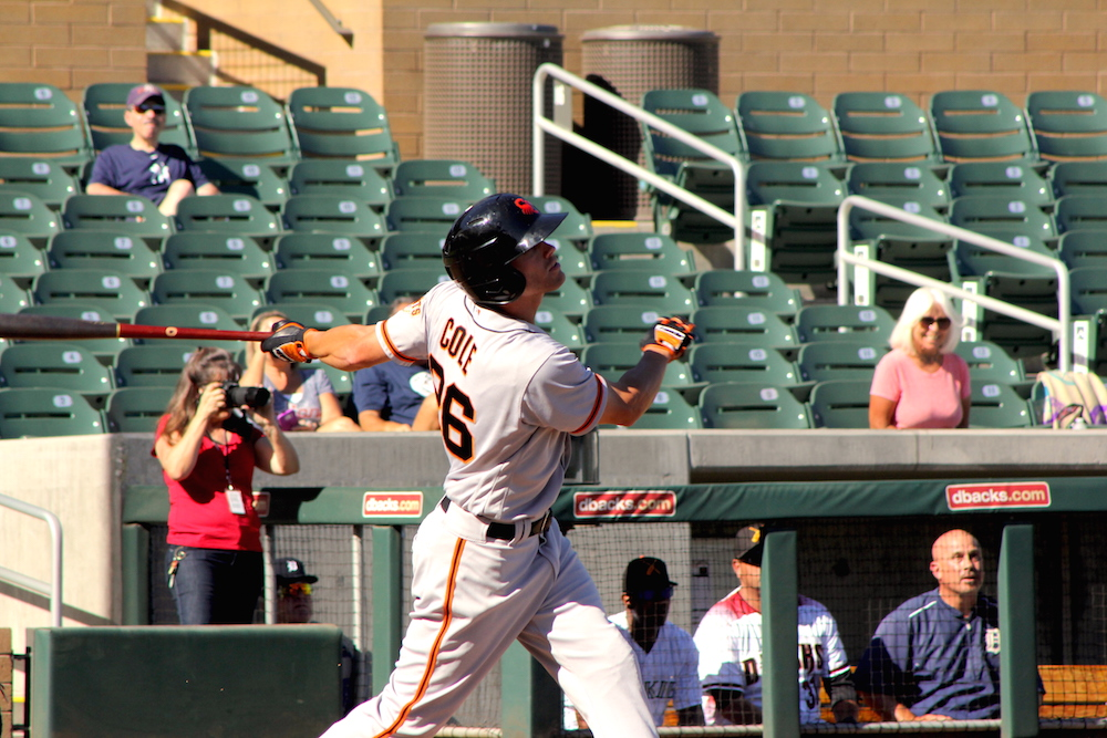Corner outfielder Hunter Cole was one of seven San Francisco Giants' prospects sent to the Arizona Fall League in 2016. (Conner Penfold/Giant Potential)