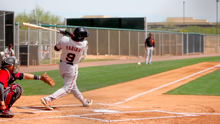 Sandro Fabian in minor league spring training this past March. (Conner Penfold/Giant Potential)