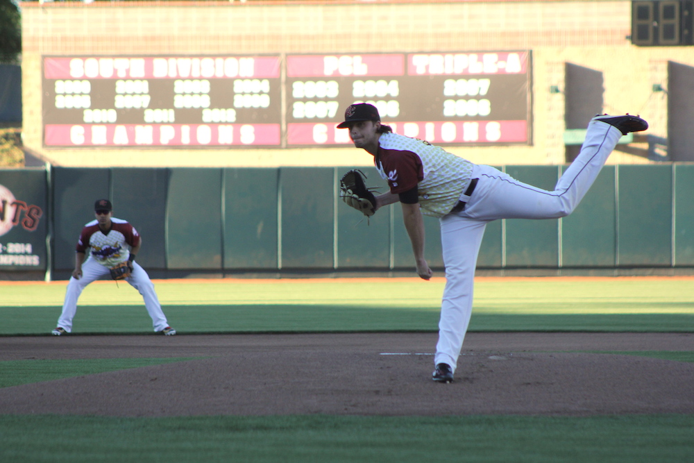 Andrew Suarez struck out eight and allowed five runs in his Sacramento River Cats debut. (Conner Penfold/Giant Potential)