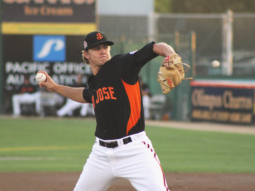 Shaun Anderson made his second start as a member of the San Francisco Giants organization. He struck out four over four one-hit innings. (Conner Penfold/Giant Potential)