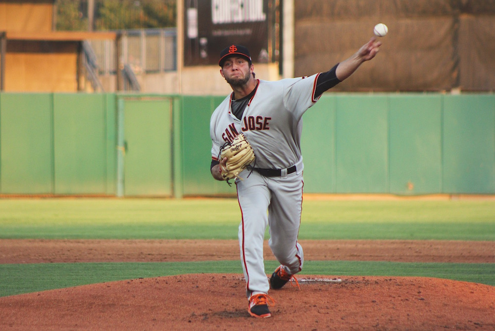 Garrett Williams struck out eight in six innings on Wednesday night while giving up zero runs for the second consecutive start. (Conner Penfold/Giant Potential)