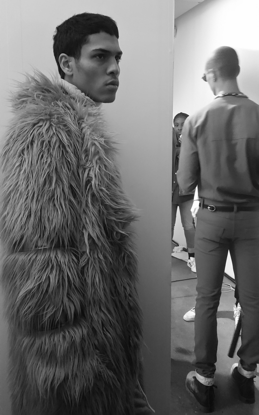 Backstage at the Pyer Moss AW16 show (credit: Kali Brown)