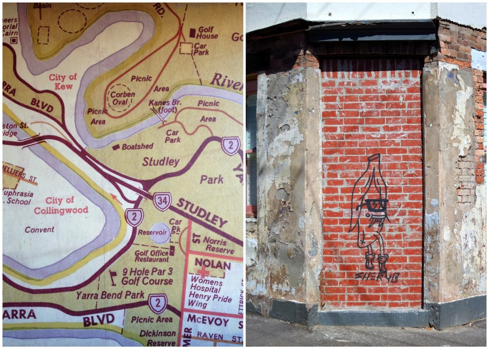 Maps and banana street art (because who doesn't)