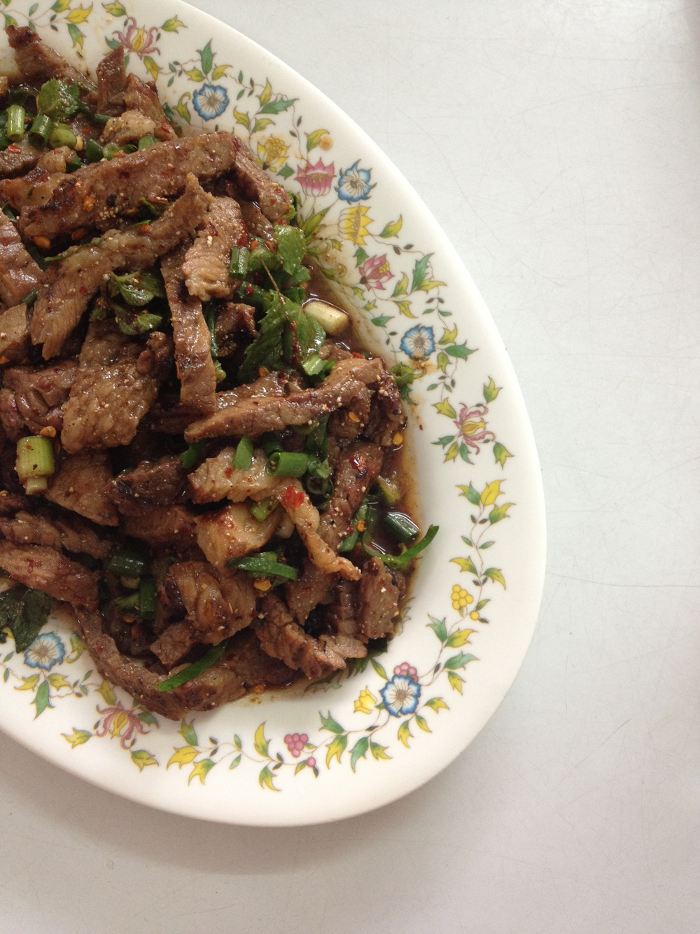 Moo nam thok, a spicy meat salad