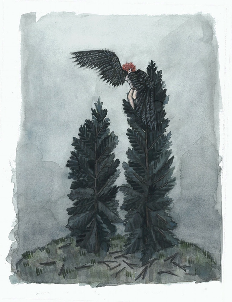Raven Woman in the Pines