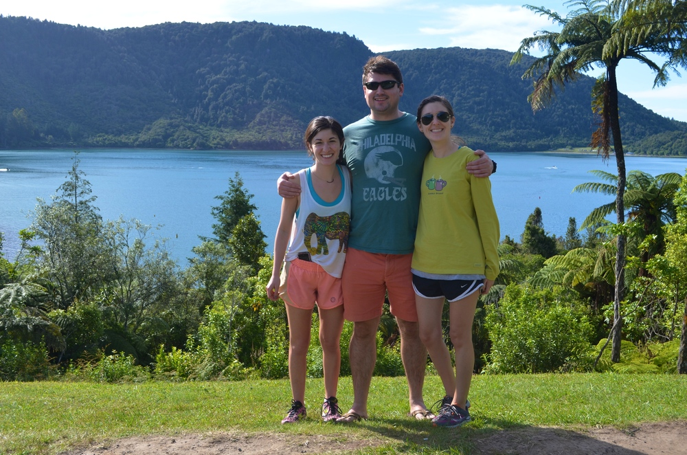 Gabrielle, Joe and I standing between the Blue and Green Lakes in Roturua.