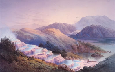 The world famous Pink and White Terraces as painted by JC Hoyte in the 1870's prior to the eruption of Mount Tarawera. Image: Hocken Collections, University of Otago.  Source