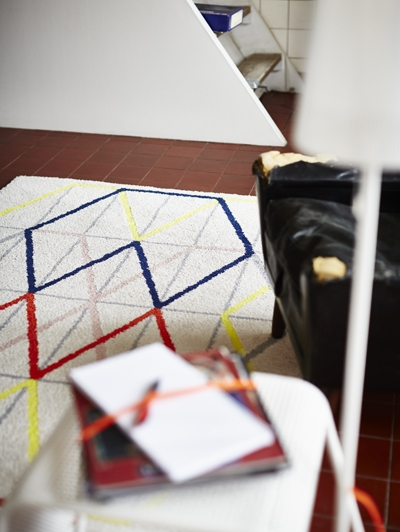 IKEA PS 2014 rug, low pile $79.99, Graphic rug designed by Margrethe Odgaard.