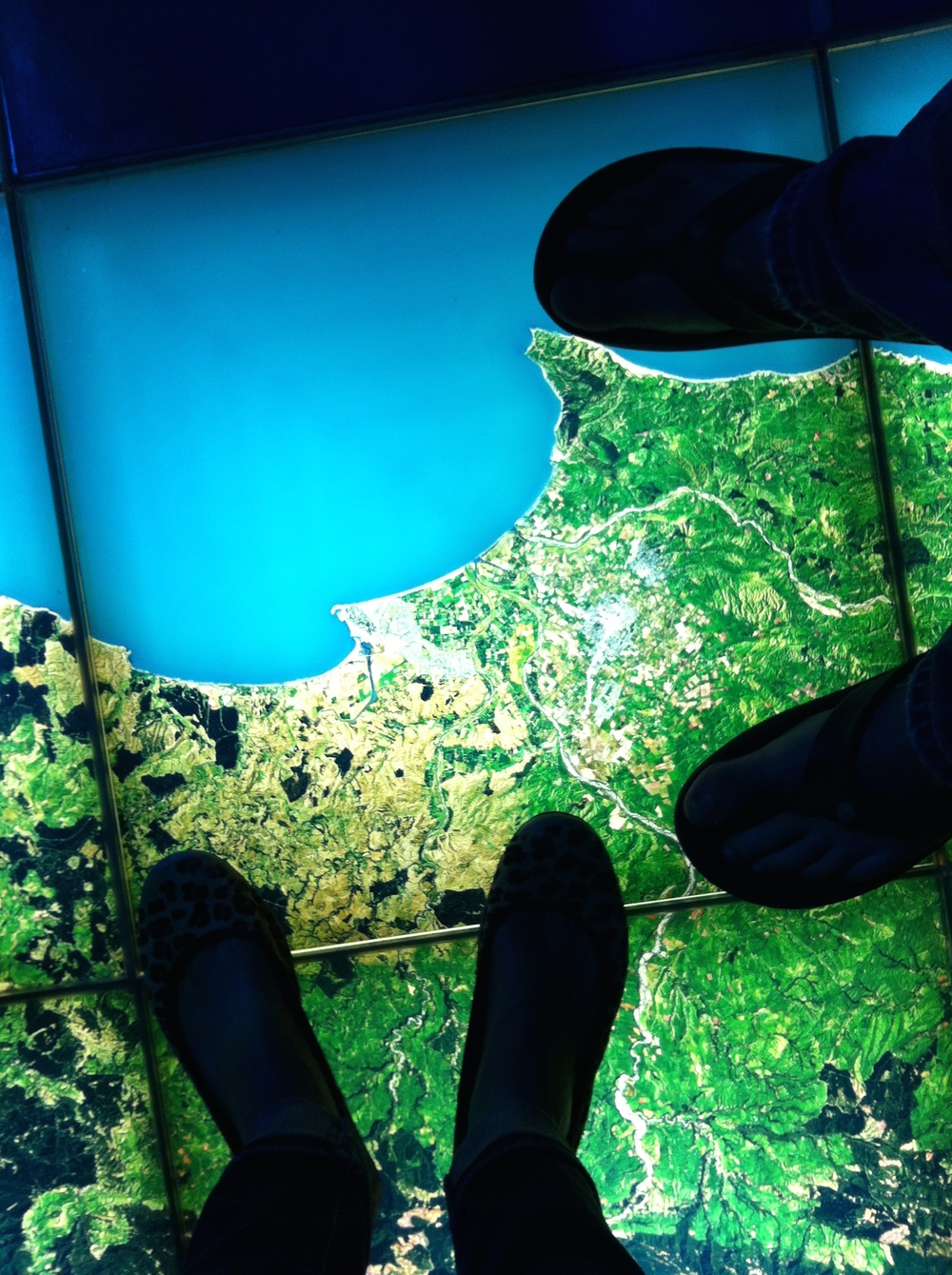 "Joe and I standing over ""our home"", Napier on the floor map."