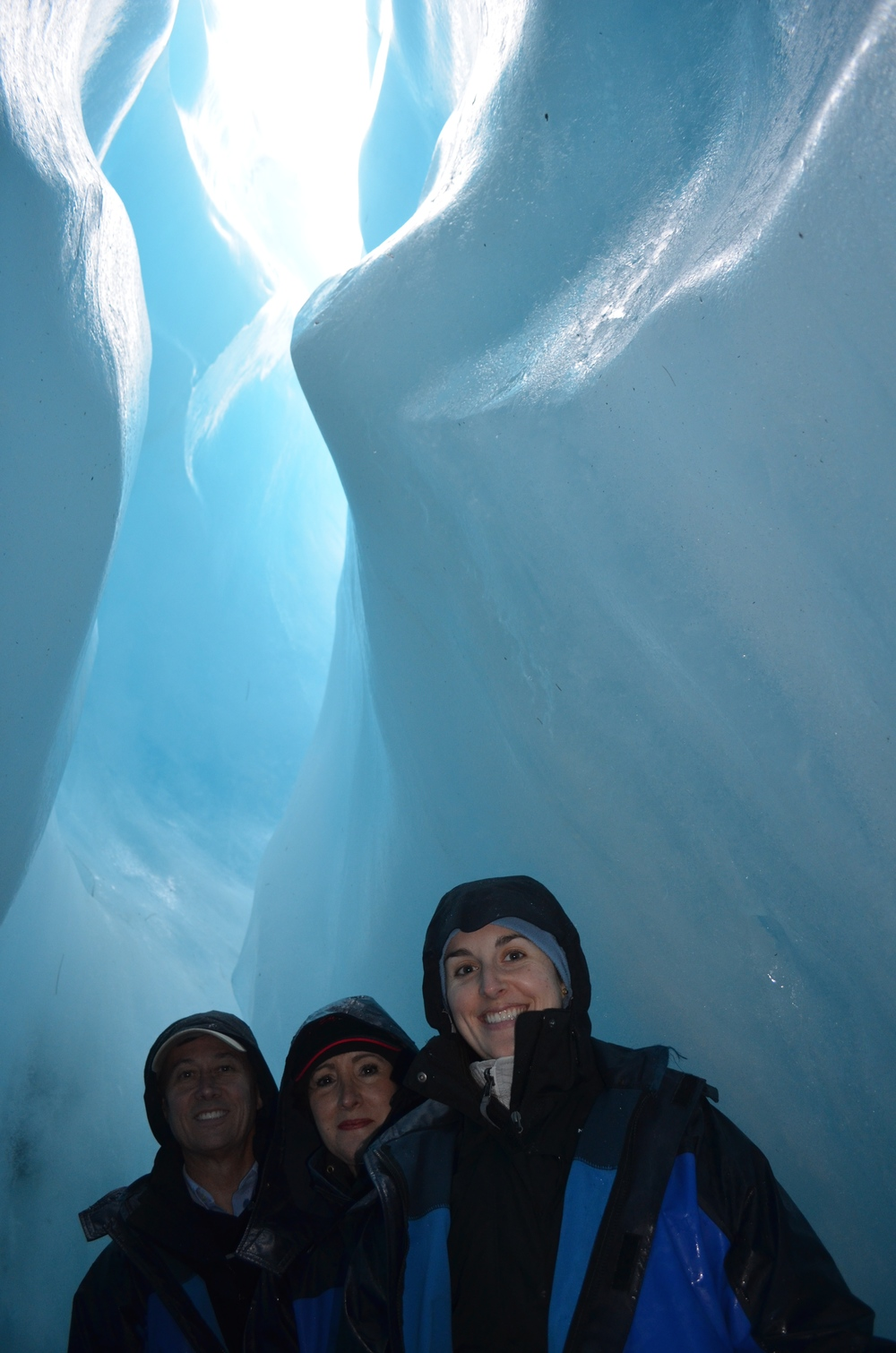 My parents and I inside the glacier tunnel.