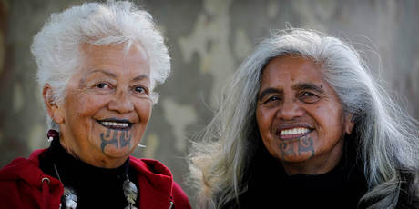 Two Maori women with Ta moko Source