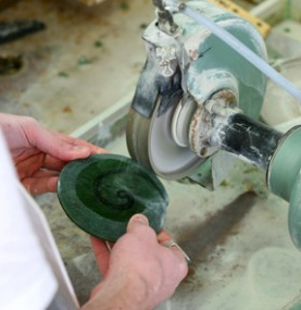 The stones are cut using diamond saws. Source