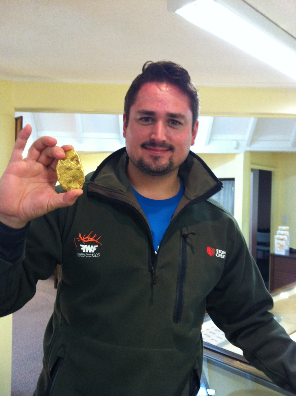 Joe showing off the massive gold nugget that was found here in Hokitika.
