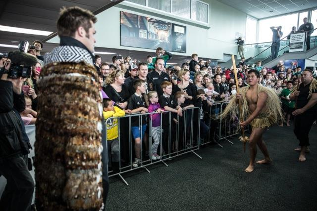The All Blacks arrival at the Hawke's Bay Airport being welcomed by the local iwi. Photo by Richard Brimer  Source
