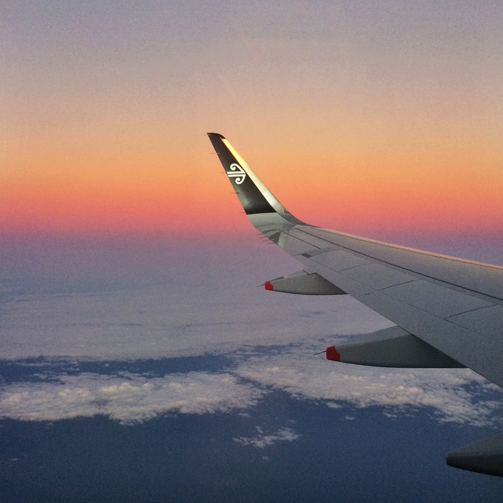 Sunrise flight to Auckland with Air New Zealand