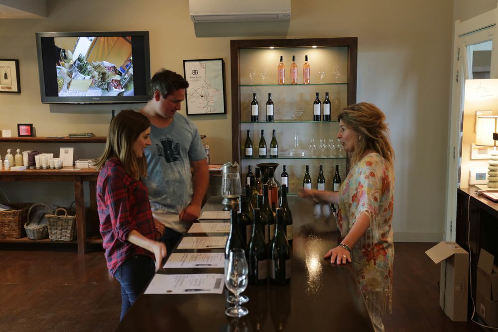 Drinking on the job at Black Barn Vineyards, one of our favorite wineries in Hawke's Bay.