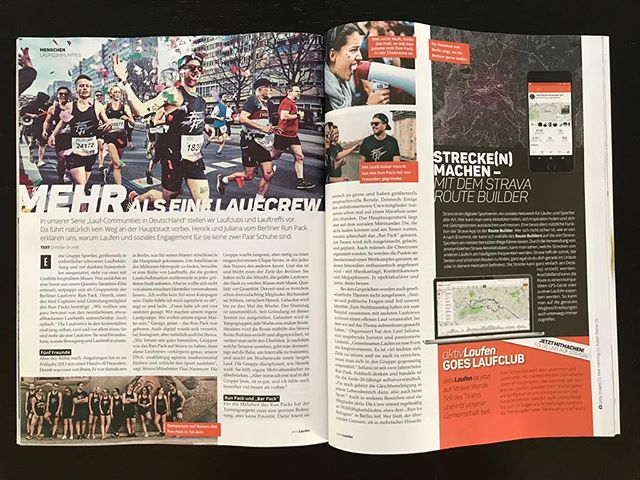 There are several reasons to buy the new issue of @aktiv_laufen . One of them might be this little story about @runpackberlin including an interview of @henriknhs and @juli_berlini Thanks to @strava 🤙🏻 ___ Photos as always by @rubenelstner & @studyo_314