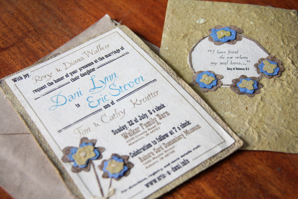 Our wedding invitations, front and back.