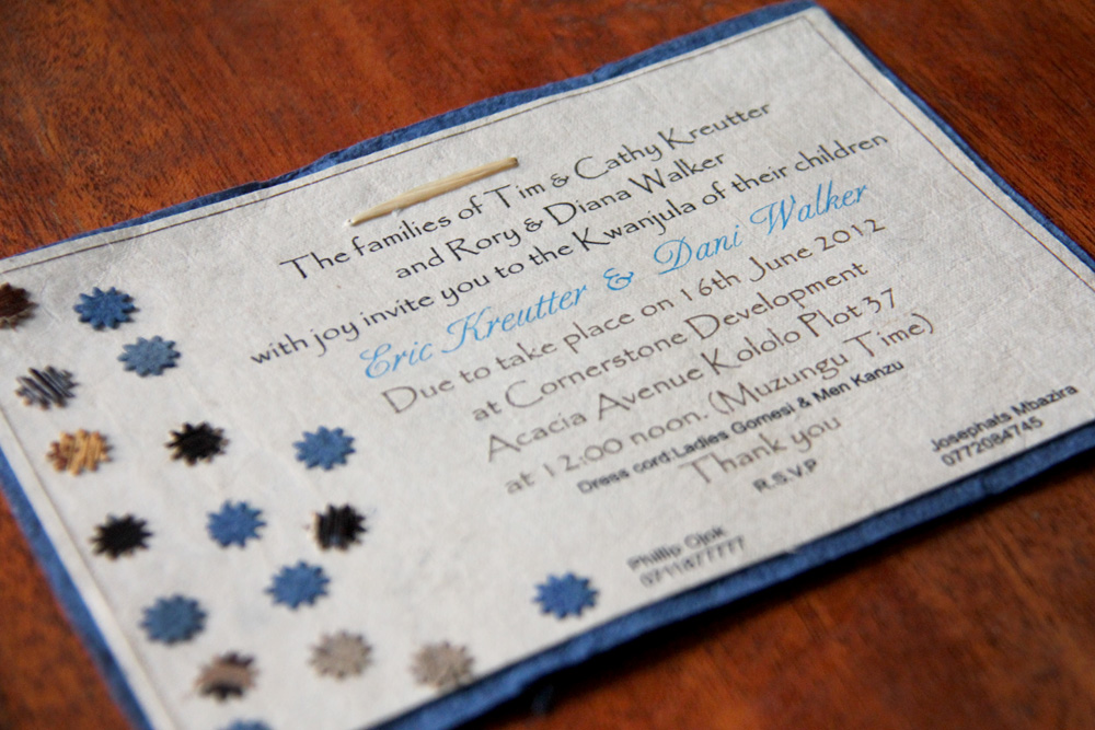 Invitation for our  kwanjula,  our traditional Ugandan wedding