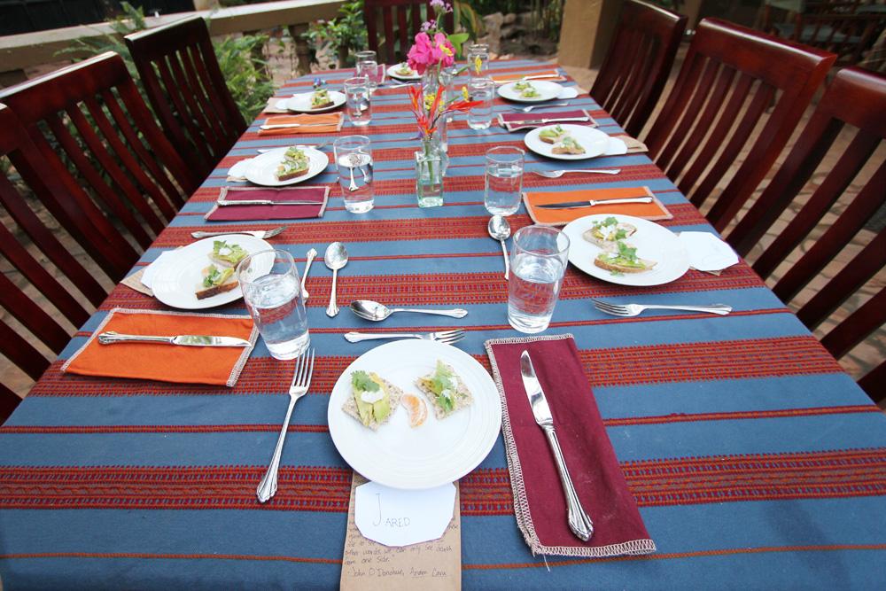 Easter dinner table setup