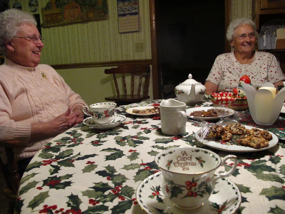Christmas tea with Lola, on the left, and my Grandma Buckmaster